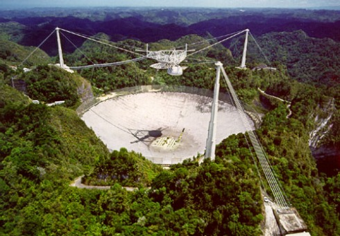 The lovely and impressive Arecibo radio telescope, where Hulse and Taylor made their observations.