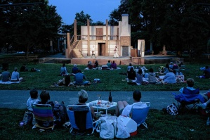 "Schiller Park provides the theater setting for a performance by Actorsí Theater of Columbus of Beaux' Stratagem Thursday, Aug. 22. The play will run Thursdays through Sundays through Sept. 1. Joshua A. Bickel/ThisWeekNEWS The audience watches during the Actors' Theater of Columbus' performance of ""Beaux' Strategem"" Aug. 22, 2013 at Schiller Park in Columbus, Ohio. The play will run Thursdays through Sundays until Sept. 1."