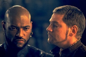 Lawrence Fishburne as Othello and Kenneth Branaugh as Iago
